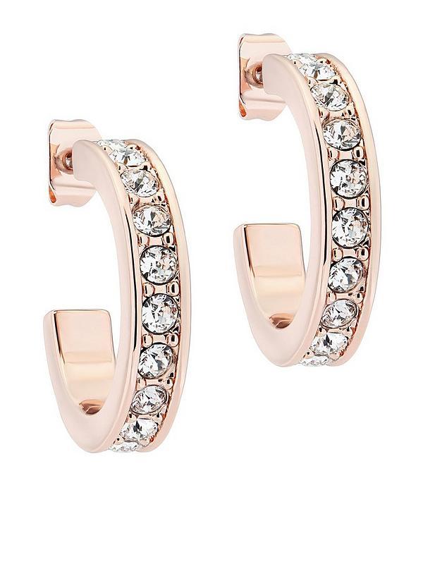 Ted Baker Seannia Crystal Hoop Earrings Rose Gold Crystal Littlewoodsireland Ie