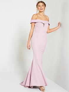 b958517fd56 Jarlo Jarlo Aja Folded Bardot Fishtail Maxi Dress