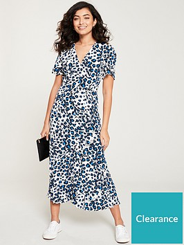whistles-brushed-leopard-button-through-dress-blue
