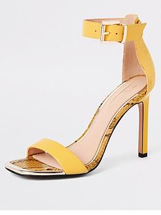 ec8b53d0cb4 River Island River Island Barely There Heeled Sandals - Yellow