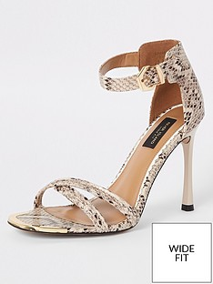 a888bde5ffd River Island River Island Wide Fit Barely There Heeled Sandals - Snake