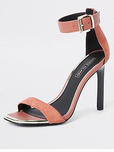 38bf4e749d4 River Island River Island Barely There Heeled Sandals - Nude
