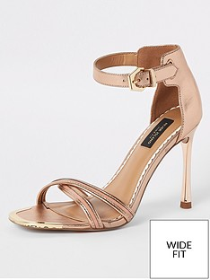 a740705989ed River Island River Island Wide Fit Barely There Heeled Sandals - Gold