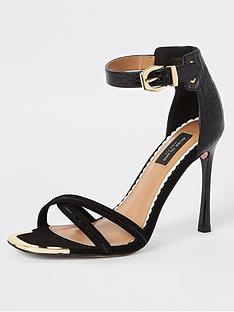 094299a3cfb9 River Island River Island Wide Fit Barely There Heeled Sandals - Black