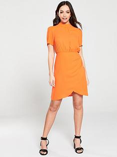 v-by-very-ruched-skirt-high-neck-formal-dress