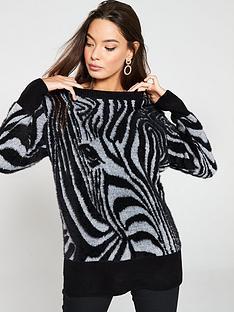 49242cc153c96e River Island River Island Zebra Print Knitted Jumper - Black