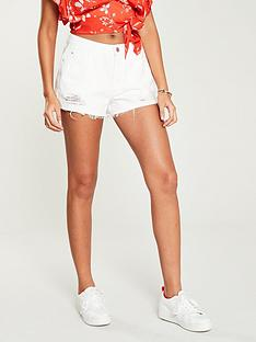 v-by-very-high-waist-distressed-hem-shorts-white