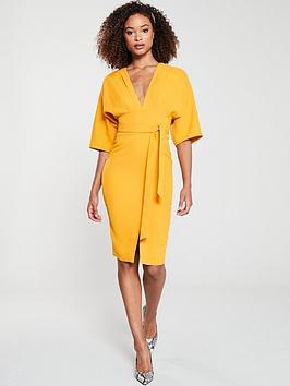 v-by-very-milana-kimono-sleeve-pencil-dress-yellow