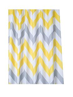 croydex-chevron-textile-shower-curtain-ndash-yellow-grey-and-white