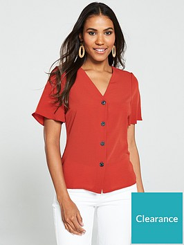 v-by-very-horn-button-short-sleeve-blouse-rust