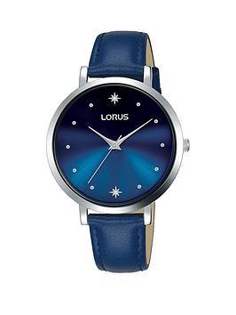 0ee614c53c5 Lorus Lorus Blue Sunray Crystal Set Star Dial Blue Leather Strap Ladies  Watch