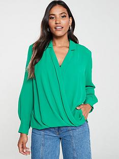 v-by-very-mock-wrap-blouse-green