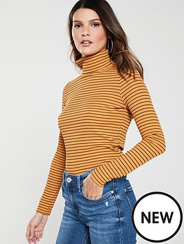8df2f3dec57 V by Very Ribbed Roll Neck Top - Mustard | littlewoodsireland.ie
