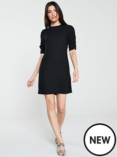 v-by-very-ruched-sleeve-crepe-tunic-black
