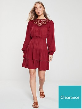 v-by-very-guipore-yoke-casual-crinkle-rayon-dress-burgundy