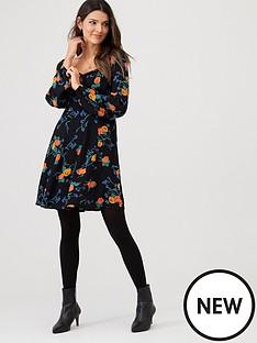 v-by-very-floralnbspshirred-back-tea-dress-black