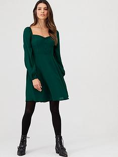 v-by-very-button-front-shirred-back-tea-dress-green