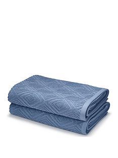 catherine-lansfield-linear-diamond-towel-range-blue