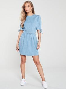 v-by-very-tie-sleeve-casual-dress-denim