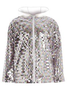 aa30c4e11d50 River Island Girls sequin embellished rain mac - silver