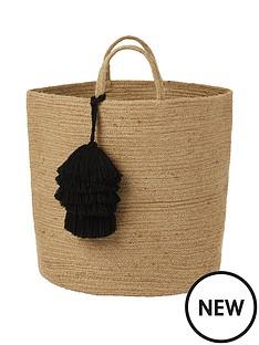 monsoon-storage-basket-with-black-tassels