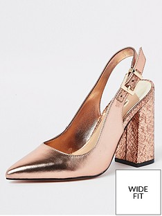 2361ac5235b River Island River Island Wide Fit Sling Back Court - Gold