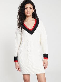 39d86fcdf774ae River Island River Island Stripe Detail Cable Knit Jumper Dress- Cream