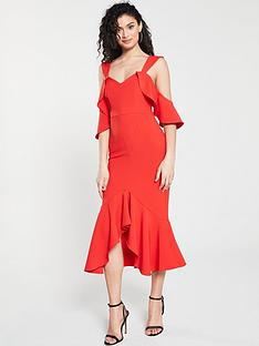 999806d6940 River Island River Island Frill Detail Bodycon Midi Dress- Red