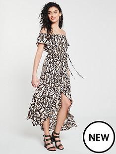 f9b9c18ea16b2b River Island River Island Leopard Print Bardot Maxi Dress- Brown