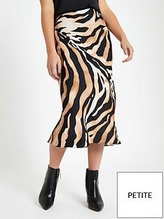 947fa019a48 RI Petite Zebra Print Midi Skirt- Brown
