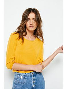 41581bd46dd V by Very Premium 3/4 Sleeve Soft Touch T-shirt - Mustard