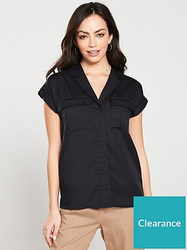 v-by-very-short-sleeve-utility-shirt-black