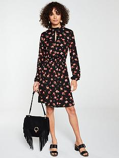 v-by-very-high-neck-shirred-detail-dress-red-floral