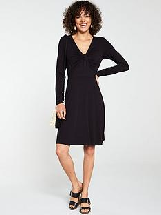 v-by-very-twist-front-long-sleeve-dress-black