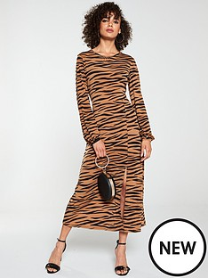 v-by-very-midaxi-split-front-dress-animal-print