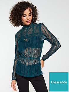 v-by-very-lace-peplum-top-forest-green