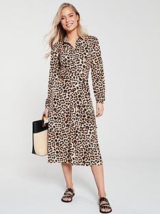 v-by-very-button-front-shirt-dress-animal-print