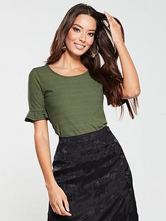 v-by-very-ribbed-frill-sleeve-top-khaki