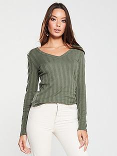 v-by-very-ribbed-long-sleeve-top-khaki