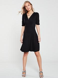 v-by-very-shirred-detail-jersey-dress-black