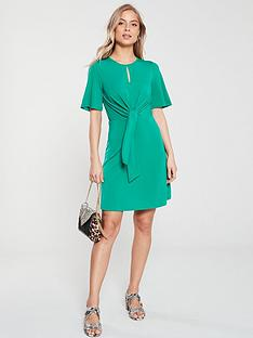 v-by-very-knot-waist-jersey-dress-green
