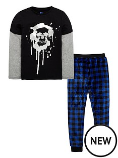 v-by-very-boys-foil-skull-pyjama-set