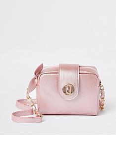 1d66005758eb River Island Girls RI Monogram Cross Body Bag - Pink