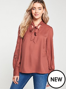 v-by-very-embroiderednbsppussybow-blouse-rust