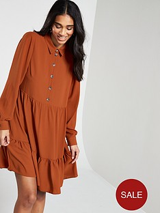 v-by-very-tiered-shirt-dress-orange