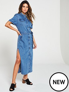 e5a4e791171 V by Very BUTTON UP DENIM MIDI SHIRT DRESS