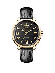 vivienne-westwood-vivienne-westwood-mayfair-brushed-black-and-gold-detail-cushion-dial-black-leather-strap-ladies-watch