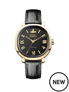 vivienne-westwood-vivienne-westwood-mayfair-brushed-black-and-gold-detail-cushion-dial-black-leather-strap-ladies-watch