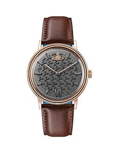 vivienne-westwood-turnmill-gunmetal-hound-tooth-and-rose-gold-detail-dial-brown-leather-strap-mens-watch