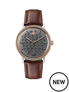 vivienne-westwood-vivienne-westwood-turnmill-gunmetal-hound-tooth-and-rose-gold-detail-dial-brown-leather-strap-mens-watch